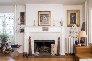 living room, fireplace, large, airy, wood floors, white, bright, wood work, rossman avenue, craftsman home in hudson ny, for sale, hudson, new york, nicole vidor, real estate, realtor, homes for sale, houses for sale