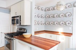 kitchen, large, airy, wood floors, beaded board, butcher block, counter tops, stainless steel, white, bright, wood work, rossman avenue, craftsman home in hudson ny, for sale, hudson, new york, nicole vidor, real estate, realtor, homes for sale, houses for sale