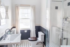 bathroom, tile, beaded board, bright, wood work, window, glass shower, light, rossman avenue, craftsman home in hudson ny, for sale, hudson, new york, nicole vidor, real estate, realtor, homes for sale, houses for sale