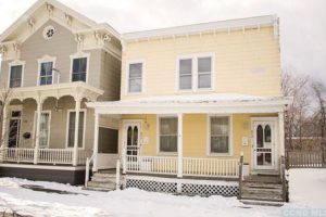 exterior, porch, decorative, yellow, white, bright, renovated, apartment in hudson ny, new york, columbia county, for rent, nicole vidor, realtor, real estate, rental