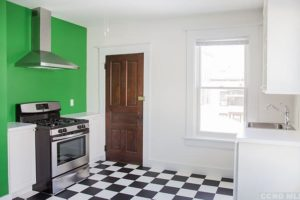 stainless steel, kitchen, checkered, white, bright, large, airy, renovated, apartment in hudson ny, new york, columbia county, for rent, nicole vidor, realtor, real estate, rental