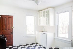 kitchen, checkered, white, bright, large, airy, renovated, apartment in hudson ny, new york, columbia county, for rent, nicole vidor, realtor, real estate, rental