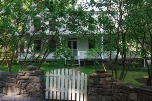 farmhouse summer rental, fence, stone wall, lilacs, saugerties, new york, ny, catskill, private, for rent, rental, nicole vidor, real estate, realtor,