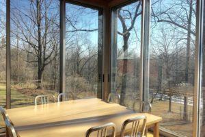 farmhouse summer rental, dining room, glass windows, glass doors, views, saugerties, new york, ny, catskill, for rent, rental, nicole vidor, real estate, realtor