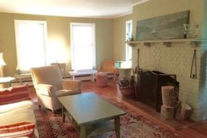 farmhouse summer rental, living room, fireplace, saugerties, new york, ny, catskill, for rent, rental, nicole vidor, real estate, realtor