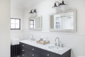 bathroom, subway tile, double vanity, white, bright, worth avenue, hudson, new york, ny, nicole vidor, real estate, realtor, home for sale, house for sale, hudson ny home with views