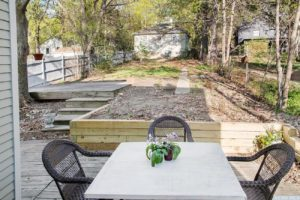 outside, deck, garden, back yard, mature trees, garage, studio, worth avenue, hudson, new york, ny, nicole vidor, real estate, realtor, home for sale, house for sale, hudson ny home with views
