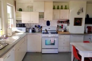 farmhouse summer rental, kitchen, white, subway tile, saugerties, new york, ny, catskill, private, for rent, rental, nicole vidor, real estate, realtor