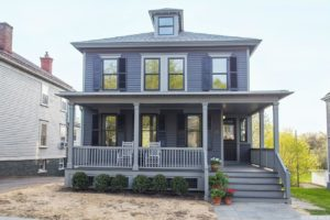 outside, exterior, clapboard, gray, black, shutters, porch, american foursquare, nicole vidor, real estate, realtor, for sale, home, house, hudson, new york, ny