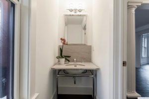 bathroom, back and white, hardwood floors, black floors, columns, american foursquare, nicole vidor, real estate, realtor, for sale, home, house, hudson, new york, ny