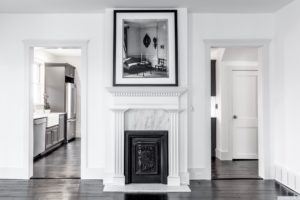 fireplace grill, back and white, living room, hardwood floors, black floors, american foursquare, nicole vidor, real estate, realtor, for sale, home, house, hudson, new york, ny