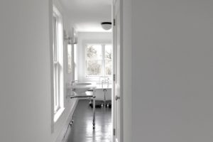 bathroom, back and white, black floors, claw foot, tub, american foursquare, nicole vidor, real estate, realtor, for sale, home, house, hudson, new york, ny