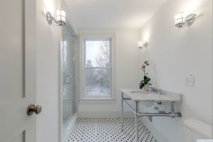 bathroom, tile floor, walk in shower, back and white, large windows, american foursquare, nicole vidor, real estate, realtor, for sale, home, house, hudson, new york, ny