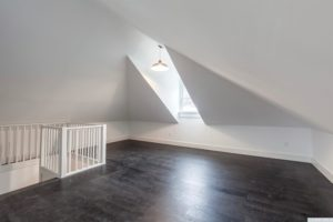 attic, finished, back and white, hardwood floors, black floors, bonus space, american foursquare, nicole vidor, real estate, realtor, for sale, home, house, hudson, new york, ny
