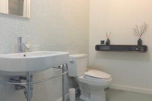 bathroom, white, minimal, tile, warren street, hudson, ny, for rent, rental, nicole vidor, real estate, realty, realtor