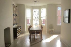 dining room, white, wood floors, bay window, light, warren street, hudson, ny, for rent, rental, nicole vidor, real estate, realty, realtor