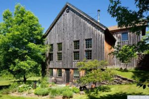 Milkweed Barn, Converted Barn, exterior, wood siding, garden, large windows, nicole vidor, real estate, realtor