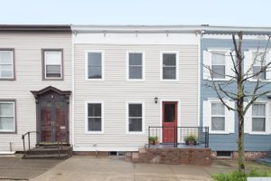 Cottage, exterior, white, brick stairs, hudson, new york, nicole vidor, real estate, realtor