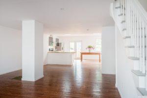 Cottage, interior, open plan, kitchen, dinning room, living room, wood floor, stairs, hudson, new york, nicole vidor, real estate, realtor