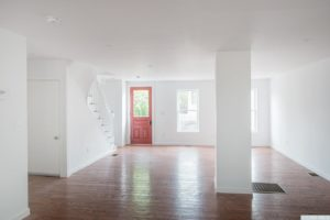 Cottage, interior, open plan, dinning room, living room, wood floor, stairs, hudson, new york, nicole vidor, real estate, realtor