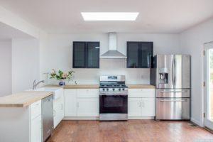 Cottage, large kitchen, stainless steel appliances, butcher block countertops, wood floor, patio doors, hudson, new york, nicole vidor, real estate, realtor