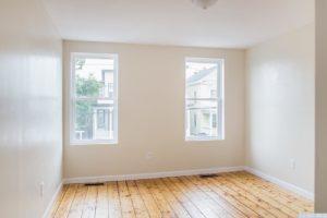 Cottage, bedroom, large windows, wood floor, hudson, new york, nicole vidor, real estate, realtor