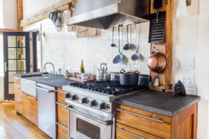 Milkweed Barn, Converted Barn, kitchen, stainless steel appliances, stone counter top, subway tile, stove, nicole vidor, real estate, realtor