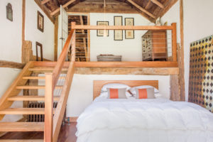 Milkweed Barn, Converted Barn, bedroom, vaulted ceilings, stairs, exposed beams, nicole vidor, real estate, realtor