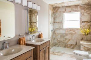 brand new home, bathroom, walk in shower, double vanity, bright, nicole vidor, real estate, realtor