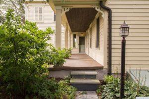 country farmhouse, exterior, clapboard siding, porch, front door, for rent, nicole vidor, real estate, realtor