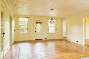 country farmhouse, interior, entry, tin ceiling, wood floors, front door, for rent, nicole vidor, real estate, realtor
