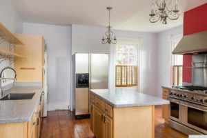 country farmhouse, interior, kitchen, wood floors, center island, stainless steel appliances, for rent, nicole vidor, real estate, realtor
