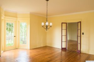country farmhouse, interior, wood floors, bay doors, french doors, living room, for rent, nicole vidor, real estate, realtor