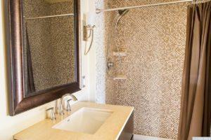 country farmhouse, interior, bathroom, shower, tile, sink, for rent, nicole vidor, real estate, realtor