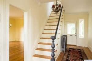 country farmhouse, interior, wood floors, entry, staircase, for rent, nicole vidor, real estate, realtor