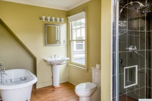 country farmhouse, interior, bathroom, claw foot tub, shower, wood floors, for rent, nicole vidor, real estate, realtor