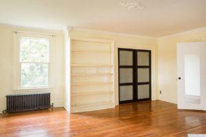 country farmhouse, interior, bedroom, closet, wood floors, bookshelf, for rent, nicole vidor, real estate, realtor