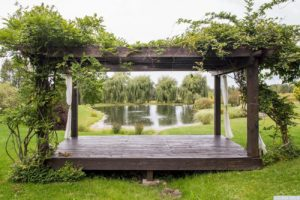 country farmhouse, outside, views, deck, pergola, pond, mature trees, for rent, nicole vidor, real estate, realtor