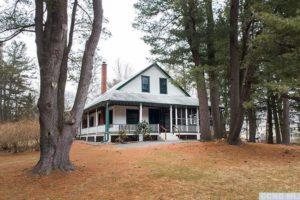 bungalow, exterior, adirondack style, wraparound porch, pine trees, nicole vidor, real estate, realtor